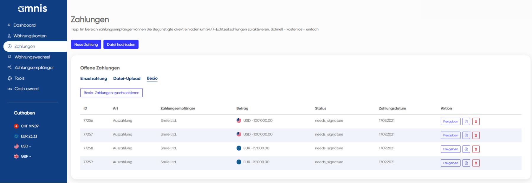 Screenshot Amnis: bexio Zahlungen importieren